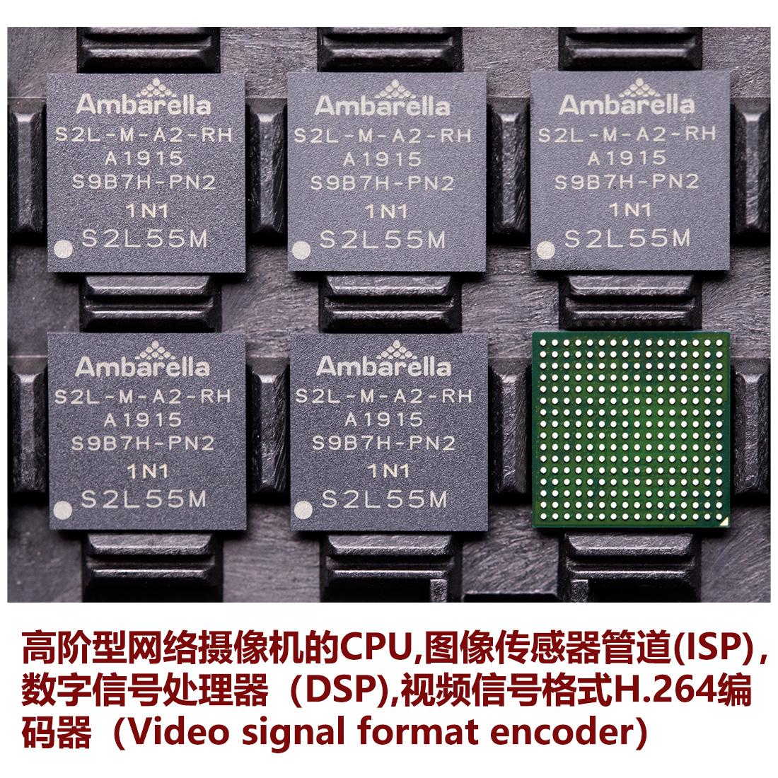 S2L55M 安霸Ambarella 集成系统芯片平台SoC,进阶型网络监控摄像机IP CAMERA 600Mhz ARM Cortex-A9 CPU 高性能数字信号处理(DSP)子系统、图像传感器管道(ISP) 高清H.264编解码引擎 codec engine