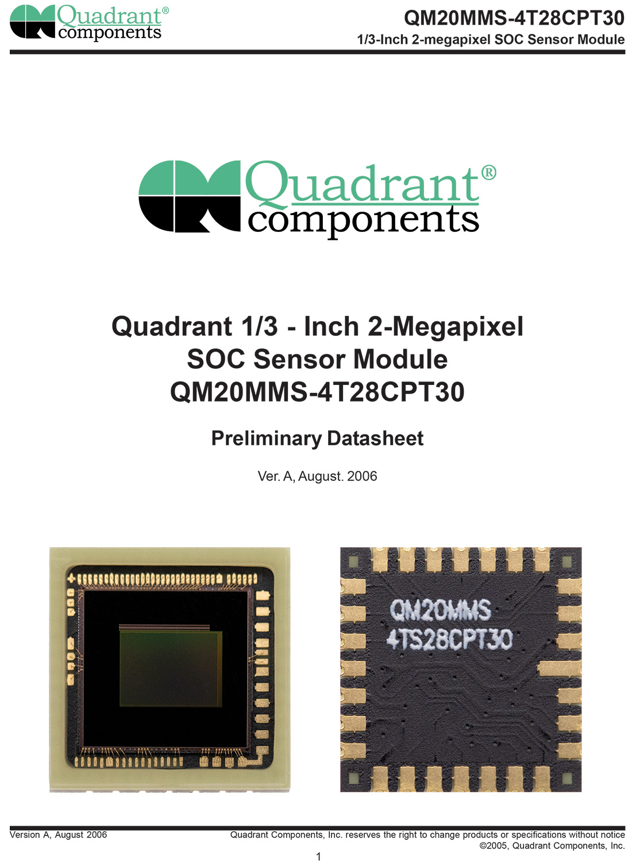 MT9D111,MI2010,QM20MMS-4T28CPT30,美光200万像素SoC, 美国扩展QUADRANT COMPONENTS, PLCC28封装工艺工业相机图像传感器,2MP CMOS SENSOR,1600x1200 cmos sensor,1/3-Inch 2-megapixel SOC, 片上系统 Sensor Module